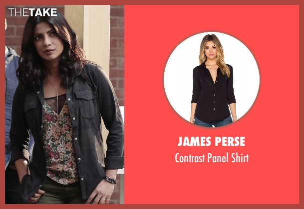 James Perse black shirt from Quantico seen with Alex Parrish (Priyanka Chopra)