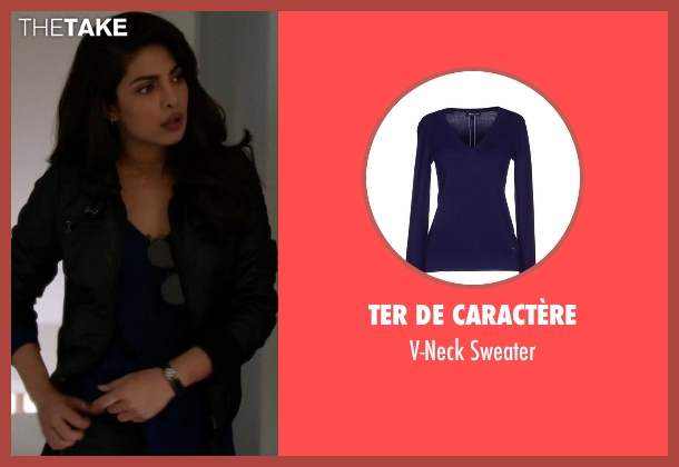 Ter De Caractère blue sweater from Quantico seen with Alex Parrish (Priyanka Chopra)