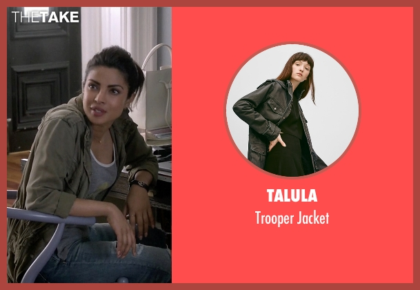 Talula green jacket from Quantico seen with Alex Parrish (Priyanka Chopra)