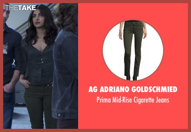 AG Adriano Goldschmied green jeans from Quantico seen with Alex Parrish (Priyanka Chopra)