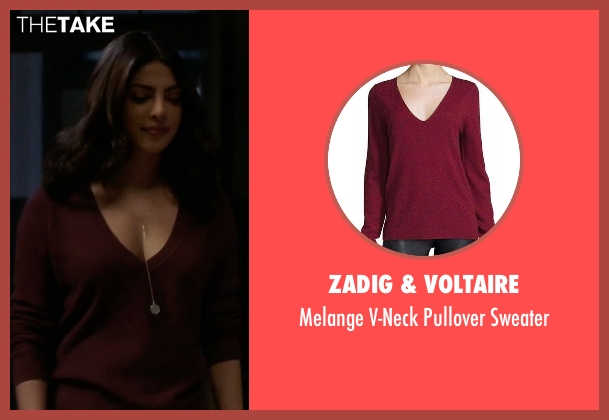 Zadig & Voltaire red sweater from Quantico seen with Alex Parrish (Priyanka Chopra)