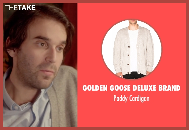 Golden Goose Deluxe Brand beige cardigan from Joshy seen with Alex Ross Perry (Adam)