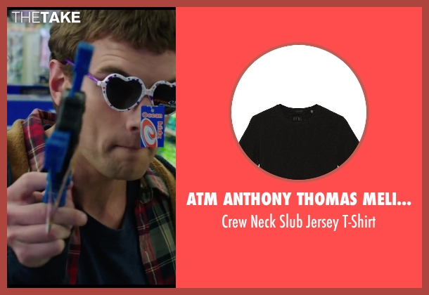 ATM Anthony Thomas Melillo black t-shirt from Chronicle seen with Alex Russell (Matt Garetty)