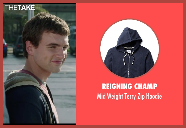 Reigning Champ blue hoodie from Chronicle seen with Alex Russell (Matt Garetty)