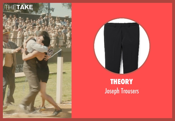 Theory black trousers from Unbroken seen with Alex Russell (Pete Zamperini)