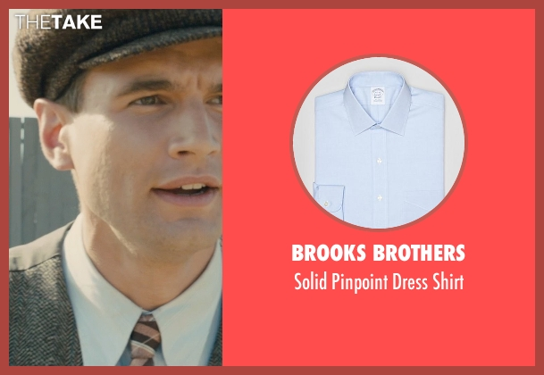Brooks Brothers blue shirt from Unbroken seen with Alex Russell (Pete Zamperini)