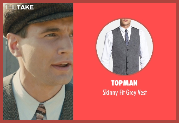 Topman gray vest from Unbroken seen with Alex Russell (Pete Zamperini)