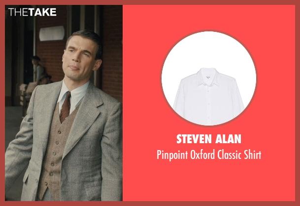 Steven Alan white shirt from Unbroken seen with Alex Russell (Pete Zamperini)