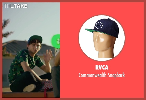 Rvca blue snapback from We Are Your Friends seen with Alex Shaffer (Squirrel)