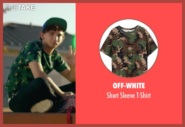 Off-White green t-shirt from We Are Your Friends seen with Alex Shaffer (Squirrel)