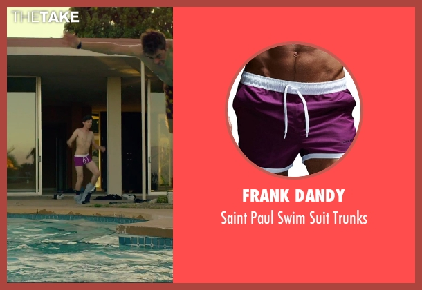 Frank Dandy purple trunks from We Are Your Friends seen with Alex Shaffer (Squirrel)