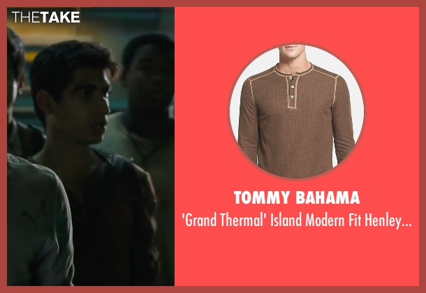Tommy Bahama brown shirt from Maze Runner: The Scorch Trials seen with Alexander Flores (Winston)