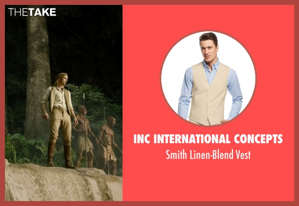INC International Concepts beige vest from The Legend of Tarzan seen with Alexander Skarsgård (Tarzan)