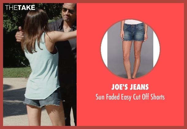 Joe's Jeans blue shorts from San Andreas seen with Alexandra Daddario (Blake)
