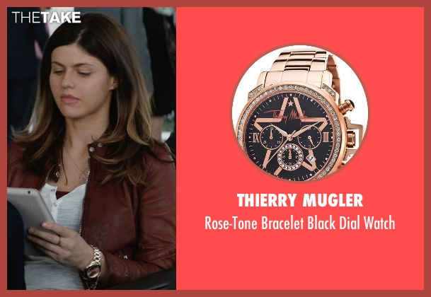 Thierry Mugler gold watch from San Andreas seen with Alexandra Daddario (Blake)