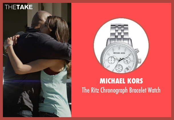 Michael Kors silver watch from San Andreas seen with Alexandra Daddario (Blake)