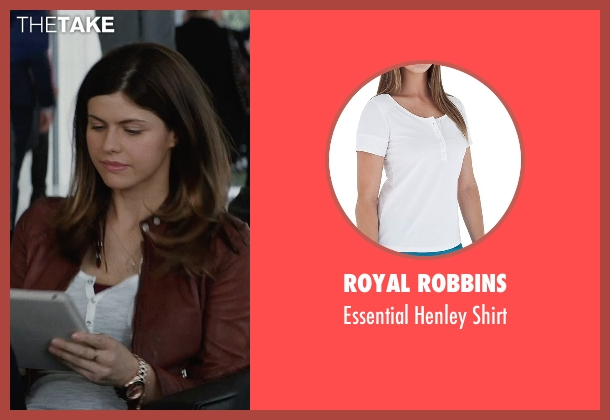 Royal Robbins white shirt from San Andreas seen with Alexandra Daddario (Blake)