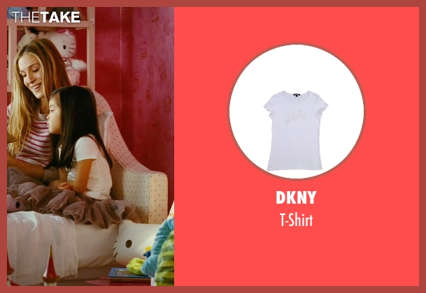 DKNY white t-shirt from Sex and the City seen with Alexandra Fong (Lily)