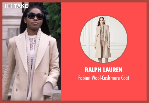 Ralph Lauren beige coat from Star seen with Alexandra (Ryan Destiny)