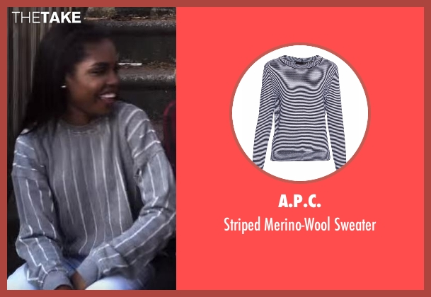 A.P.C. blue sweater from Star seen with Alexandra (Ryan Destiny)
