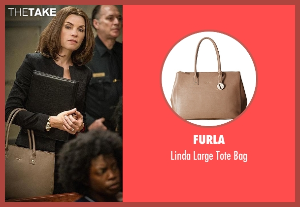 Furla beige bag from The Good Wife seen with Alicia Florrick (Julianna Margulies)