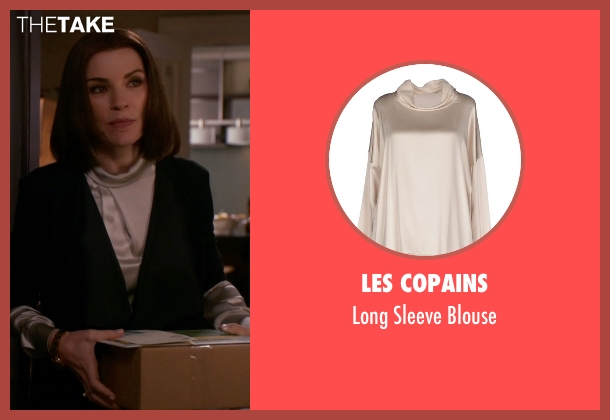 Les Copains beige blouse from The Good Wife seen with Alicia Florrick (Julianna Margulies)