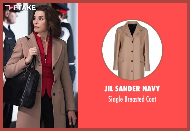 Jil Sander Navy beige coat from The Good Wife seen with Alicia Florrick (Julianna Margulies)