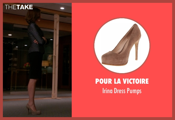 Pour La Victoire beige pumps from The Good Wife seen with Alicia Florrick (Julianna Margulies)