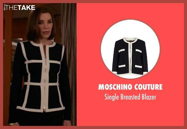 Moschino Couture black blazer from The Good Wife seen with Alicia Florrick (Julianna Margulies)