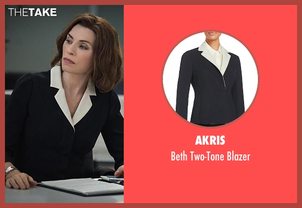 Akris black blazer from The Good Wife seen with Alicia Florrick (Julianna Margulies)