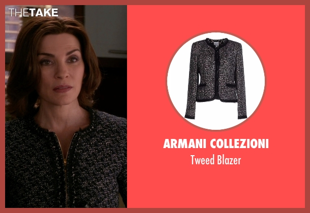Armani Collezioni black blazer from The Good Wife seen with Alicia Florrick (Julianna Margulies)