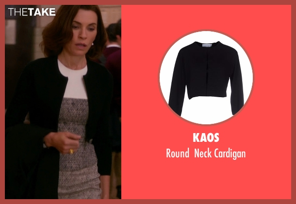 Kaos black cardigan from The Good Wife seen with Alicia Florrick (Julianna Margulies)