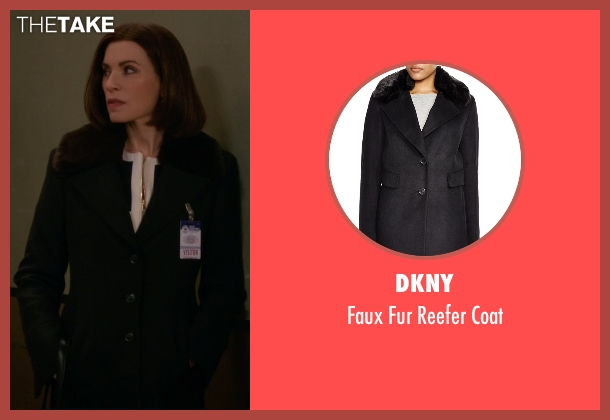 DKNY black coat from The Good Wife seen with Alicia Florrick (Julianna Margulies)