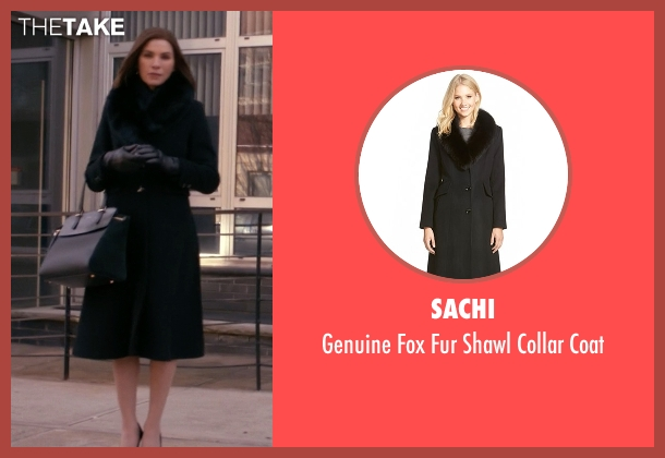 Sachi black coat from The Good Wife seen with Alicia Florrick (Julianna Margulies)