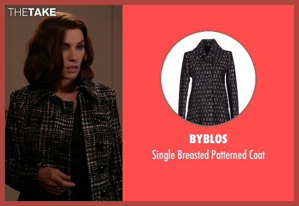 Byblos black coat from The Good Wife seen with Alicia Florrick (Julianna Margulies)