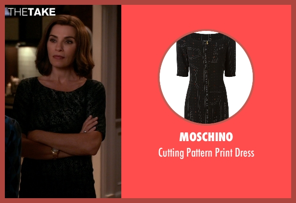 Moschino black dress from The Good Wife seen with Alicia Florrick (Julianna Margulies)