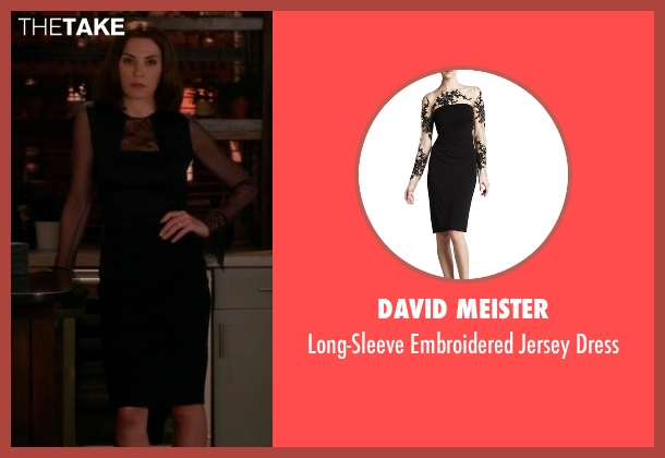 David Meister black dress from The Good Wife seen with Alicia Florrick (Julianna Margulies)