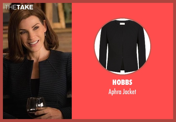 Hobbs black jacket from The Good Wife seen with Alicia Florrick (Julianna Margulies)