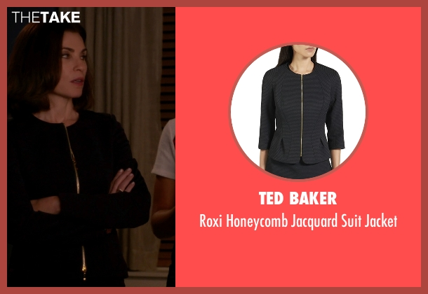Ted Baker black jacket from The Good Wife seen with Alicia Florrick (Julianna Margulies)