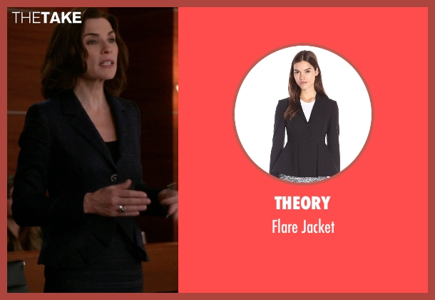 Theory black jacket from The Good Wife seen with Alicia Florrick (Julianna Margulies)