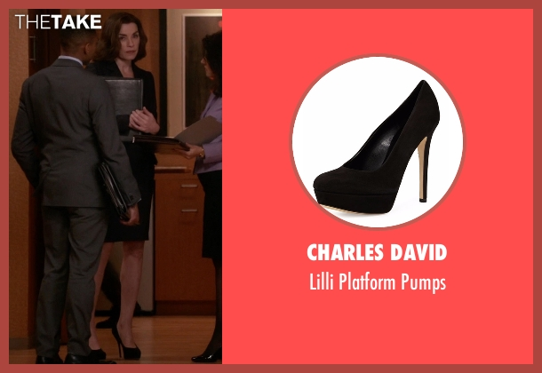 Charles David black pumps from The Good Wife seen with Alicia Florrick (Julianna Margulies)