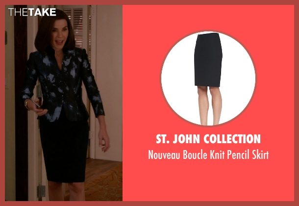 St. John Collection black skirt from The Good Wife seen with Alicia Florrick (Julianna Margulies)