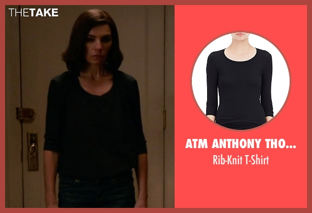 ATM Anthony Thomas Melillo black t-shirt from The Good Wife seen with Alicia Florrick (Julianna Margulies)
