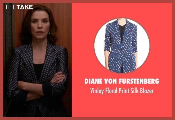 Diane Von Furstenberg blue blazer from The Good Wife seen with Alicia Florrick (Julianna Margulies)