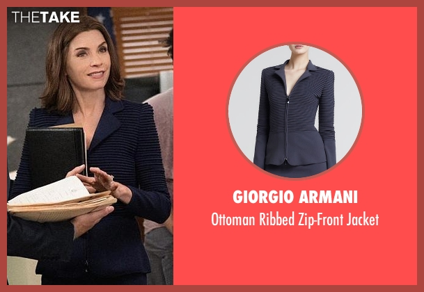 Giorgio Armani blue jacket from The Good Wife seen with Alicia Florrick (Julianna Margulies)