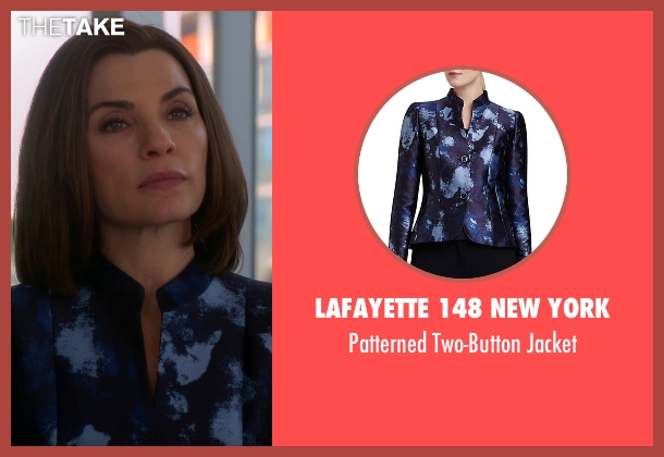 Lafayette 148 New York blue jacket from The Good Wife seen with Alicia Florrick (Julianna Margulies)
