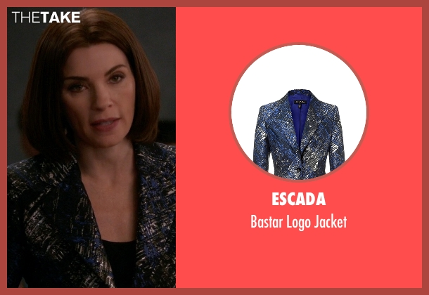 Escada blue jacket from The Good Wife seen with Alicia Florrick (Julianna Margulies)