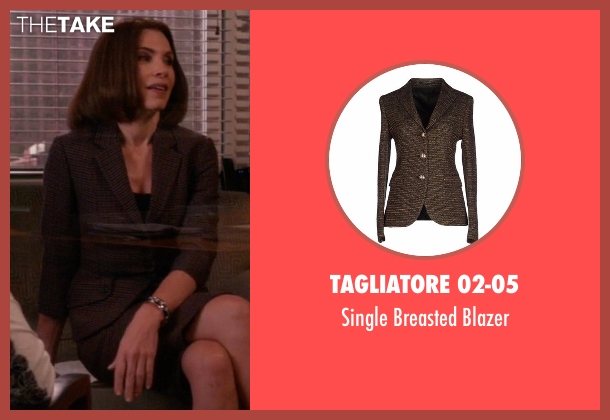 Tagliatore 02-05 brown blazer from The Good Wife seen with Alicia Florrick (Julianna Margulies)