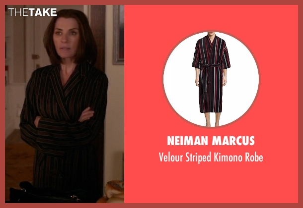 Neiman Marcus brown robe from The Good Wife seen with Alicia Florrick (Julianna Margulies)