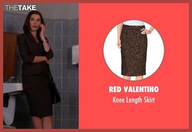 Red Valentino brown skirt from The Good Wife seen with Alicia Florrick (Julianna Margulies)